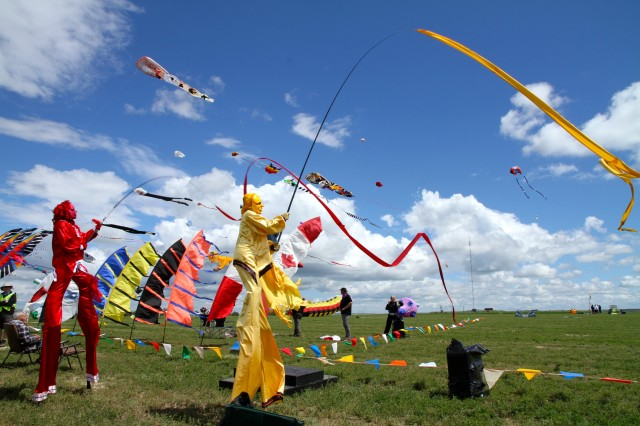 Stilt walkers at the Windscape Kite Festival Swift Current, Saskatchewan